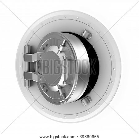 Bank vault door concept isolated on white background.