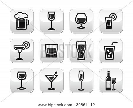 Drink alcohol beverage vector buttons set