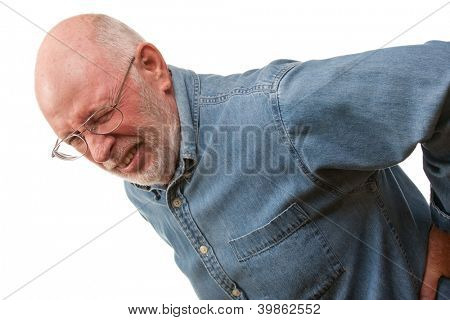Agonizing Senior Man with Hurting Back on a White Background.