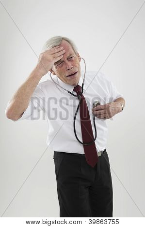 Sick Man Checking His Own Heart