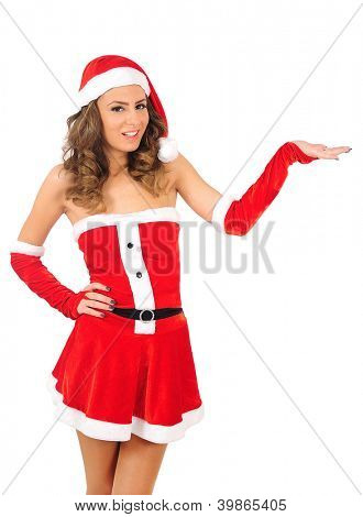 Isolated young christmas woman holding palm