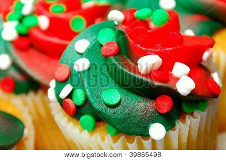 Red And Green Cupcake Closeup