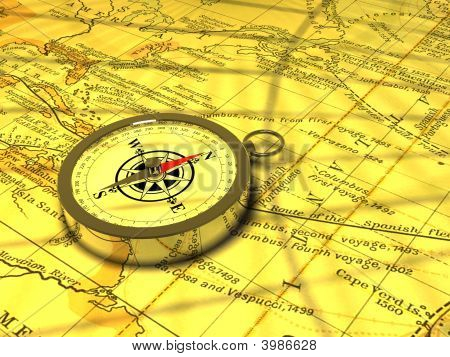 A Compass On An Old Map