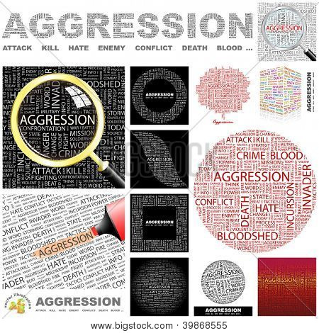 AGGRESSION. Word collage. GREAT COLLECTION.