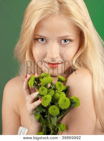 Girl With Green Chrysanthemum
