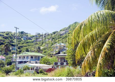 Landscape  Houses Clifton Union Island St. Vincent And The Grenadines In Caribbean