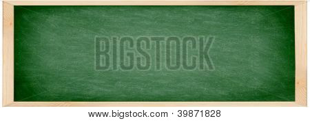 Chalkboard / blackboard banner. Close up of empty school chalkboard / green blackboard. Great texture. Photo.