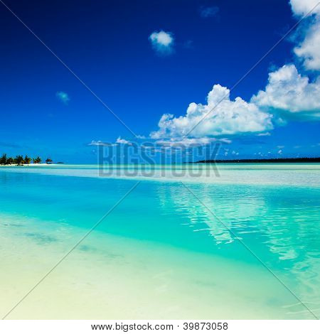 A beautiful tropical island beach scene