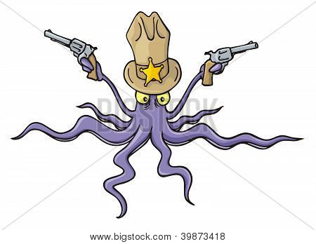 Sheriff Squid Cartoon