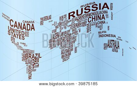 World Map With Country Name