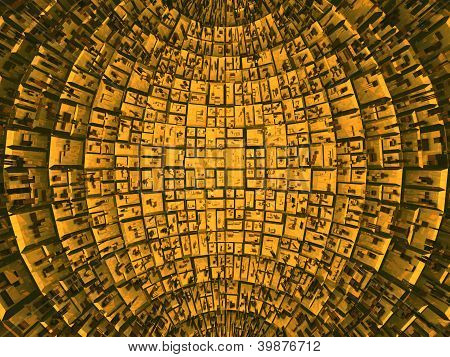 Panels inside a sphere