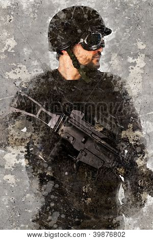 Artistic portrait with textured background, police