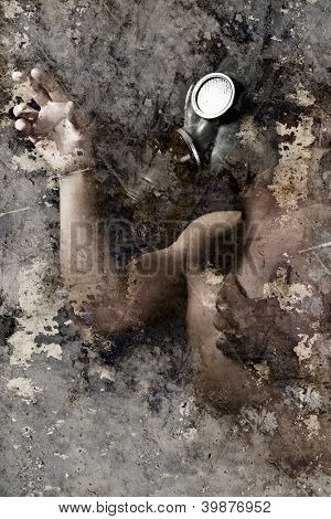 Artistic portrait with textured background, man with gas mask