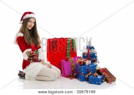 Christmas Girl Holding Present