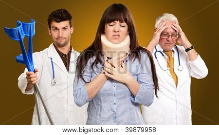 Woman With Neck Brace In Front Of Doctors On Brown Background