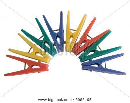Close Up Colored Clothes-Peg