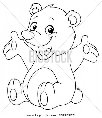 Outlined happy teddy bear raising his arms. Coloring page