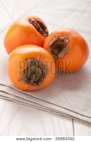 Exotic Tropic Orange Fruits Persimmon Served Textile Towel