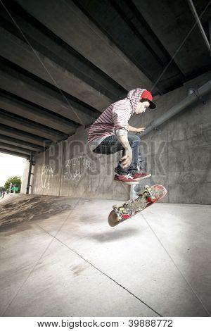 Skateboarder Under Overpass