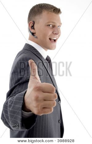 Successful Businessman Showing Thumbs Up