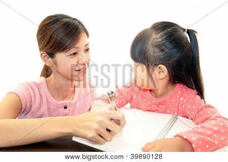 Smiling girl studying