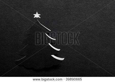 Christmas Tree on Black Paper