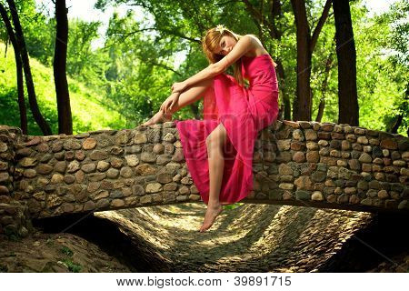 Young Beautiful Girl On A Stone Bridge