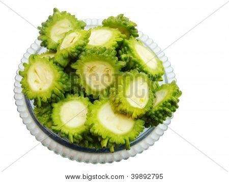 Sliced pieces of bitter gourd in a bowl