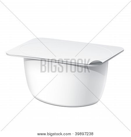 Realistic White blank plastic container for yogurt