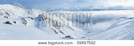 Alpine mountains under the snow in winter