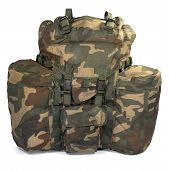 stock photo of knapsack  - Military backpack isolated on white background - JPG