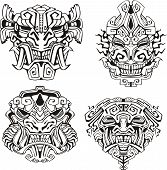 picture of cultural artifacts  - Aztec monster totem masks - JPG