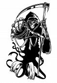 image of scythe  - Black death with scythe for halloween or horror concept - JPG