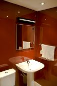 stock photo of lavabo  - modern bathroom with sinks and mirror  - JPG