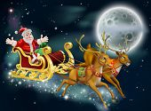 stock photo of rudolf  - A Christmas illustration of Santa and sled delivering gifts on Christmas Eve with the moon in the background - JPG