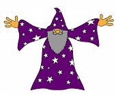 stock photo of sorcerer  - Purple old sorcerer wizard magician with beard - JPG