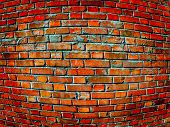 stock photo of perversion  - The colored convex brick wall close up - JPG