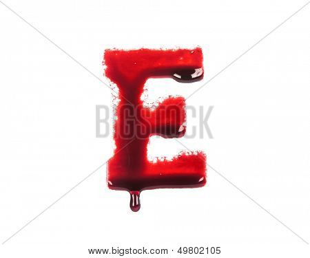 Blood fonts with dripping blood, the letter E