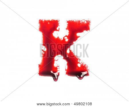 Blood fonts with dripping blood, the letter K