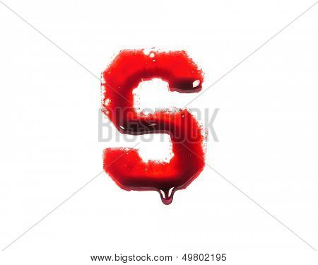 Blood fonts with dripping blood, the letter S