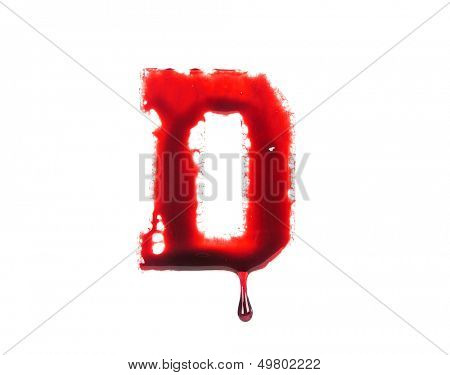 Blood fonts with dripping blood, the letter D