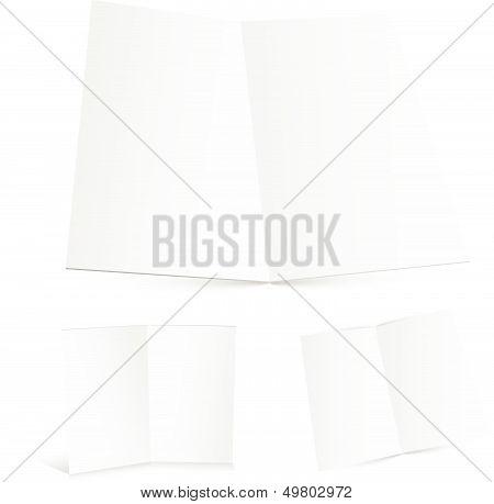 Blank White Zigzag Folded Paper.