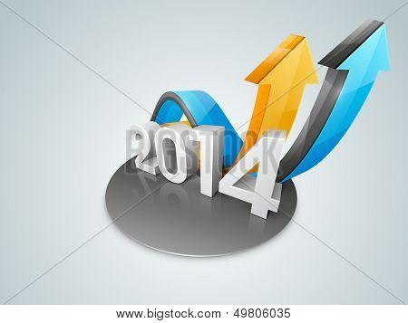 Happy New Year 2014 colorful celebration background.