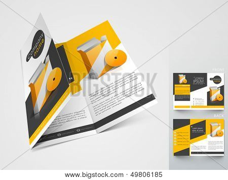 Professional business three fold flyer template, corporate brochure or cover design in yellow and black color, can be use for publishing, print and presentation.