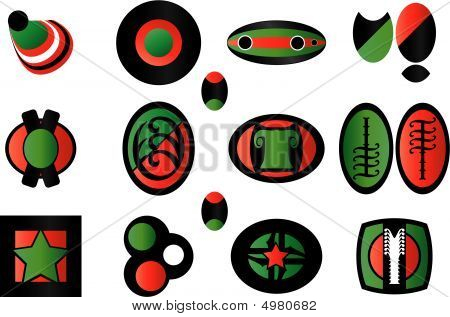 Green -red - Black Set Of Logo