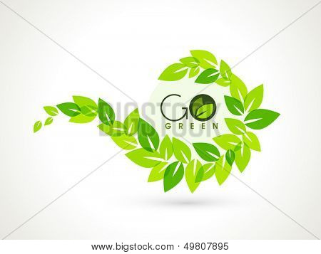 Nature concept with green leaves and the text Go Green.