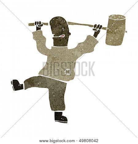 retro cartoon man holding mallet