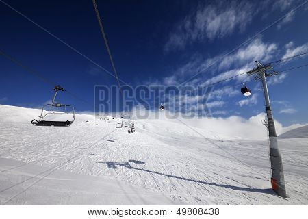 Gondola And Chair Lift At Nice Sunny Day