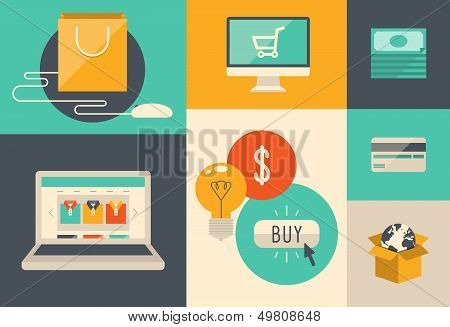 E-commerce y compra iconos en Internet