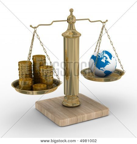 Cashes And The Globe On Weights. Isolated 3D Image